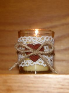 Rustic Wedding Light / Rustic Wedding Votive Candle Holder / Autumn Wedding / Shabby Chic Wedding / Crochet Lace Votive / Wood Heart / 6