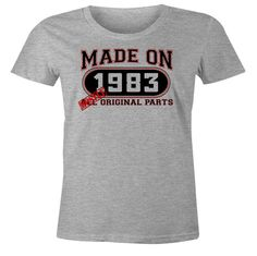 33rd Birthday Gift T-Shirt - Made In 1983 Mostly Original Parts - Short Sleeve Womens T-Shirt