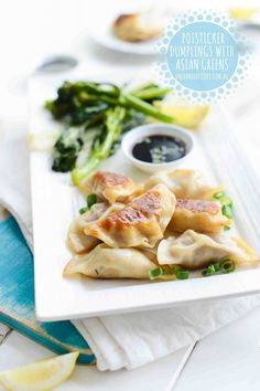 Potsticker Dumplings with Asian Greens