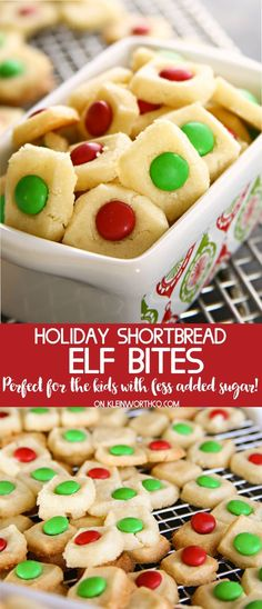 Holiday Shortbread Elf Bites, an easy to make holiday cookies recipe that kids love. Bite-sized buttery cookies topped with holiday chocolate candies.YUM! via @KleinworthCo AD #cookies#shortbread#christmas#elf#holiday#santa #mms