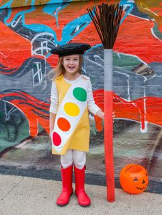 Watercolor paintbox Halloween costume tutorial -- easy to make, and good for cold climates -- could wear several layers beneath it if needed.