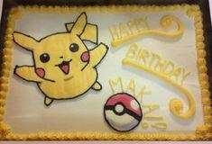 diese idee für eine gelbe pokemon torte mit pikachz und einem pokeball wird den kindern sehr gut gefallen
