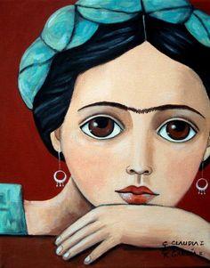 """Mexican & Original Folk Art. """"JUST FRIDA"""". Stretched Canvas 8"""" X 10"""" #NaiveFolkArt"""