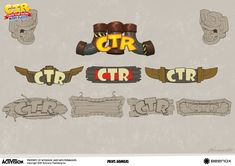 View an image titled 'CTR Signs Concept Art' in our Crash Team Racing Nitro-Fueled art gallery featuring official character designs, concept art, and promo pictures. Crash Team Racing, Crash Bandicoot, Game Logo, Game Art, Concept Art, Art Gallery, Character Design, Creative