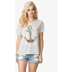 FOREVER 21 Anchor Graphic Tee ($15) ❤ liked on Polyvore