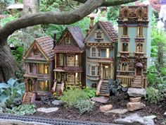 ♧ Charming Fairy Cottages ♧ garden faerie gnome elf houses miniature furniture - Morris Arboretum - Fairy houses made to look like Victorian homes.(like the painted ladies in San Francisco)
