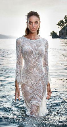 eddy k 2018 bridal long bell sleeves bateau neck full embellishment elegant lace fit and flare wedding dress lace back sweep train (1) zv -- Eddy K. Dreams 2019 Wedding Dresses