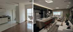 Projeto do escritório Atelier da Reforma - Antes e depois da cozinha integrada - Render SketchUp + V_ray