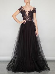 FLOWER LACE AND TULLE LONG DRESS