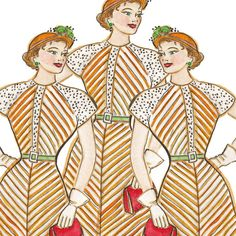 The Triplets in Stripes  Retro Fashion Art Print by DianaEvans, $20.00
