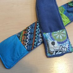 """Batik Blues""-Reversible Patchwork Scarf-Blues and Greens with a Fleece backing. Accessorize AND stay warm! Polar Fleece, Feeling Special, Stay Warm, Fabric Patterns, Womens Scarves, Cable Knit, Flannel, Upcycle, Blues"