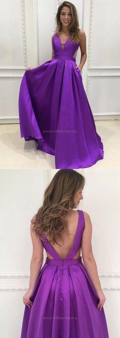 Long Prom Dresses,Princess Prom Dresses For Teens,V-neck Prom Dresses Satin,Modest Prom Dresses 2018