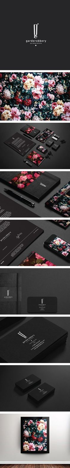 Garderobbery by Pavel Ilyuk A really great depiction to the inspiration and influence of the rose garden packaging. Additionally, the sleek black background creates the perfect balance for the overall look. Layout Design, Logo Design, Web Design, Design Poster, Brand Identity Design, Graphic Design Typography, Graphic Design Illustration, Branding Design, Graphic Artwork