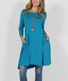 Loving this Turquoise Pocket Swing Tunic on #zulily! #zulilyfinds