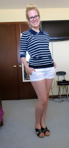 Navy and white! Fashion. OOTD. Forever 21. American Eagle. Marshall's.