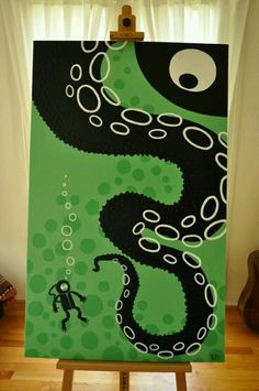 Octopus print with scuba guy