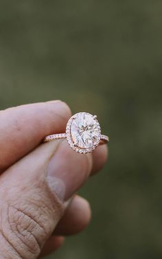 So in love with this stunning rose gold halo engagement ring!