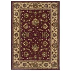 Meridian Rugmakers Brighton Red/Ivory Area Rug