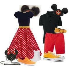 Cute couples or friends outfits. Mickey and Minnie Mouse. And comfy shoes. Disney Couple Outfits, Disney Character Outfits, Disney Themed Outfits, Disneyland Outfits, Disney Dresses, Disney Bound Couples, Dapper Day Disneyland, Disney Dapper Day, Disney Cosplay
