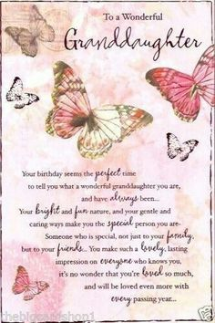 Happy Birthday to a wonderful Granddaughter - Birthday Month Birthday Verses, Birthday Girl Quotes, Happy Birthday Grandma Quotes, Birthday Prayer, Grandma Birthday, Mother Birthday, Birthday Stuff, Friend Birthday, Happy Birthday Wishes Cards