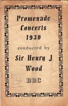 1939 Proms Tauber Suggia Reiss Sammons Feuermann Curzon Austral Solomon Harty, Booth Cancelled because of the war.