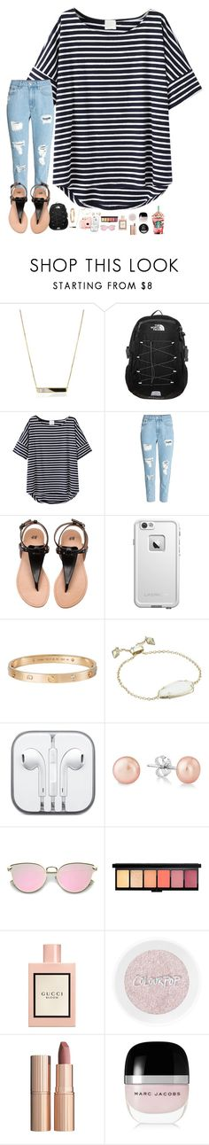 """""""all my friends tell me i should move on. i'm lying in the ocean singing your song."""" by thatonelakyn ❤ liked on Polyvore featuring Edge of Ember, The North Face, LifeProof, Cartier, Kendra Scott, CO, Gucci, Charlotte Tilbury and Marc Jacobs"""