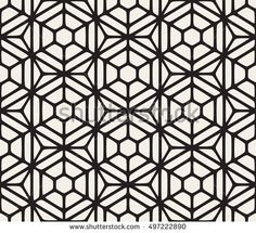 Vector Seamless Black And White Hexagon Rounded Grid Pattern. Abstract Geometric Background Design