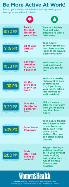 Easy ways to move more every hour you're at work: http://blog.womenshealthmag.com/scoop/exercise-at-work/