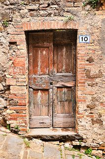 Montalcino, Tuscany, Italy (not Downing Street, obviouly) Door Entryway, Entrance Doors, Doorway, Portal, Knobs And Knockers, Door Knobs, Old Doors, Windows And Doors, Mode Poster