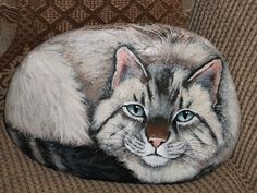 Picture of a cool cat,beautifully painted on stone!!