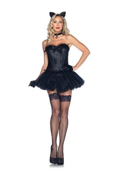 Black 5 PC Black Cat Babe Costume @ Amiclubwear costume Online Store,sexy costume,women's costume,christmas costumes,adult christmas costumes,santa claus costumes,fancy dress costumes,halloween costumes,halloween costume ideas,pirate costume,dance costum
