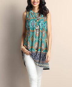 Look what I found on #zulily! Green Medallion Pin Tuck Notch Neck Tunic #zulilyfinds