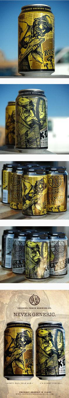 Crooked Fence Cans by Kelly Knopp. Who wants a #beer #packaging PD