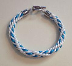 Turquoise and White Braided Kumihimo Bracelet by JewelleryByJanine