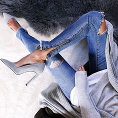 The gray suede heel is taking over. // Follow @ShopStyle on Instagram to shop this look