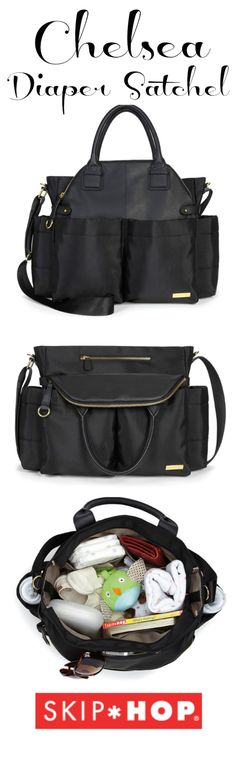 Skip Hop Chelsea Diaper Satchel: Runway to running around in style | The Shopping Mama. Carry with satchel handles or long messenger / over the shoulder strap.