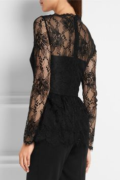 Black lace Concealed zip fastening along back 80% viscose, 20% polyamide; lining: 100% silk Dry clean Made in ItalyLarge to size. See Size & Fit notes.