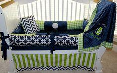 Michael Custom Baby Bedding Crib Set 5 PC SET pillow, bumpers, blanket, skirt & crib sheet on Etsy, $375.00