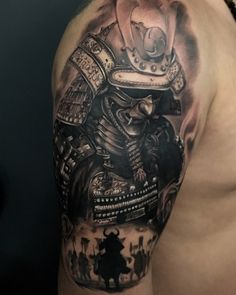 Tattoo Ramiz Kamalitdinov - tattoo's photo In the style Realistic, Male, Asian, Warrio Japanese Warrior Tattoo, Japanese Tattoo Sleeve Samurai, Japanese Leg Tattoo, Samurai Warrior Tattoo, Japanese Tattoos For Men, Warrior Tattoos, Japanese Dragon Tattoos, Hannya Mask Tattoo, Armor Tattoo