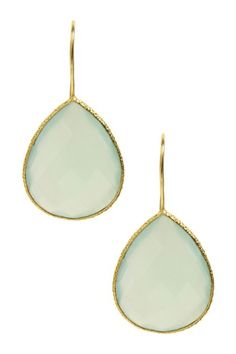 Jewelry by Saachi  18K Gold Clad Faceted Milky Chalcedony Drop Earrings