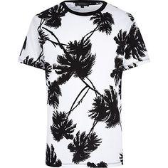 White palm tree print t-shirt #riverisland #RImenswear