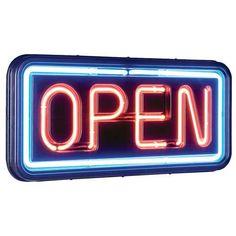 "Yes, were open. International Patterns 11"" x 24"" Open sign. #DreamFSW #foodie"