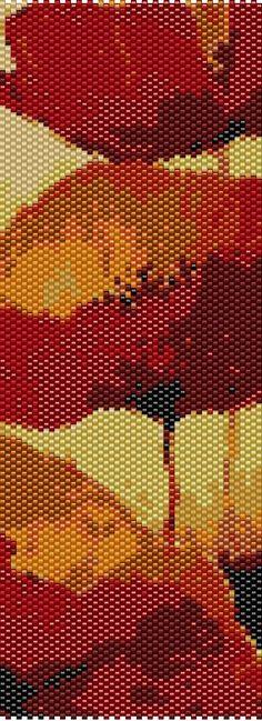 Poppies Peyote Cuff Beaded Bracelet Pattern by RubyDsArtandJewelry