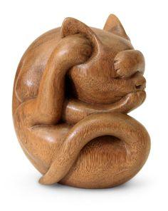 "Nengah Sudarsana - Индонезийская Вуд Йога Скульптура - Йоги Cat Вес:1,4 кг - Размеры: 6 ""Н х 3,5"" Ш х 6 ""D   Novica"
