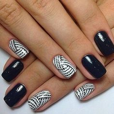 Stunning 30 Extraordinary Black White Nail Designs Ideas Just For You Nail Manicure, Gel Nails, Acrylic Nails, Nail Polish, Pedicure, Black And White Nail Designs, Black White Nails, Short Nail Designs, Nail Art Designs