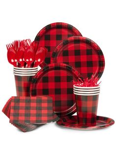 Buffalo Plaid Standard Tableware Kit (Serves from Birthday in a Box is the perfect touch to your Lumberjack Plaid party Lumberjack Birthday Party, Boys First Birthday Party Ideas, Wild One Birthday Party, Man Birthday, Boy Birthday Parties, Lumberjack Cake, Birthday Weekend, Themed Parties, Happy Birthday
