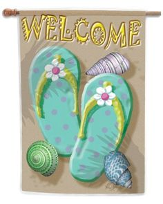 Welcome Flip Flop House Flag by Toland Home Garden. $16.28. Toland Flags are UV, Mildew, and Fade Resistant. Decorative Art Flag. All Toland Flags are machine washable. Toland Flags are made from durable 600 denier polyester. Heat sublimated process permanently dyes flag fabric for long-lasting color. Welcome Flip Flop Standard Flag 28 by 40. Save 40% Off!