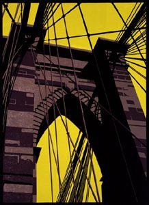 Paul Catherall - Brooklyn Bridge, linocut