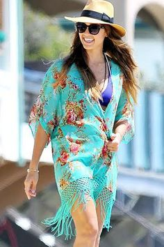 Turquoise Floral Print Tasseled Holiday Beachwear