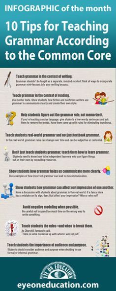 **Follow for Free 'too-neat-not-to-keep' literacy tools & fun teaching stuff :) ......10 Tips for Teaching Grammar According to the Common Core